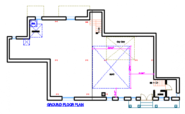 Simple Ground floor layout design drawing of house design