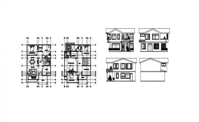 Simple House Elevation In DWG File
