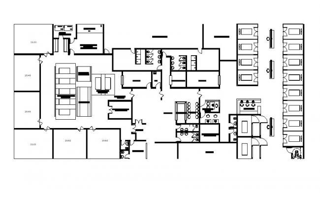 Simple Line Plan of Hospital Building