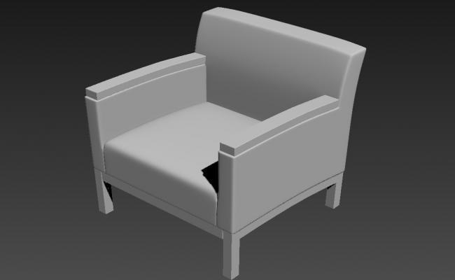 Simple Wooden Sofa In 3D MAX File Free