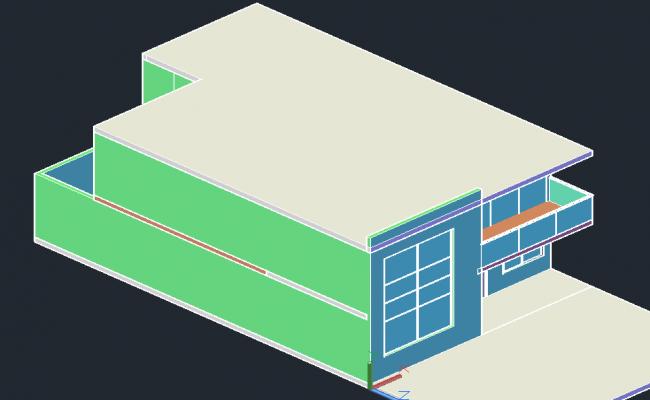 Simple house 3 D plan detail dwg file