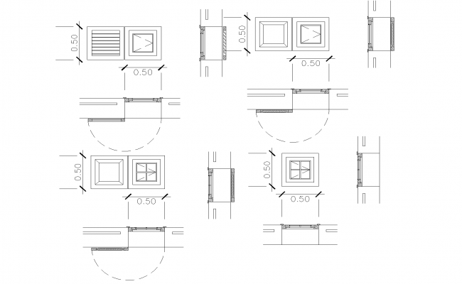 Simple window plan detail dwg file.