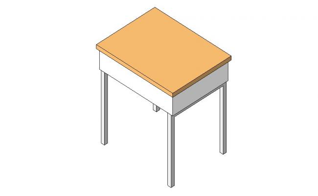 Simple wooden table 3d block cad drawing details dwg file
