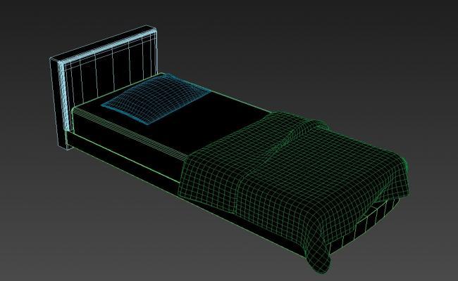 Single Bed With Backrest 3D Isometric Elevation Design