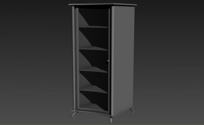 Single Crockery Cabinet Designs In Glass And Wooden Material 3D MAX File