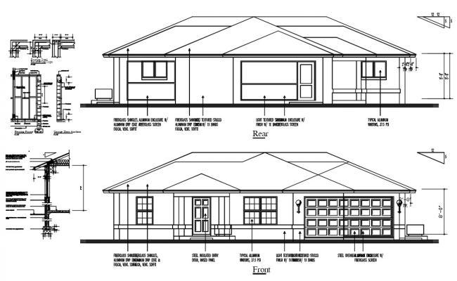 Single Family House Elevation Design DWG File