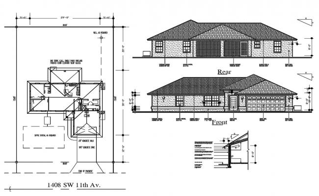 Single Family House Plan CAD Drawing