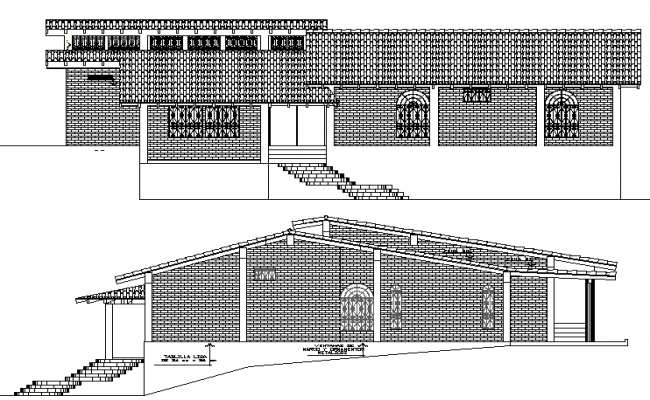 Single Family House Plan and Elevation dwg file