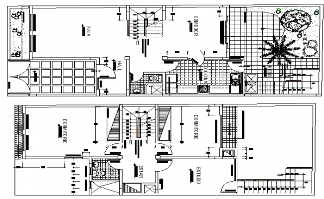Single Family House Plan and Structure Details dwg file
