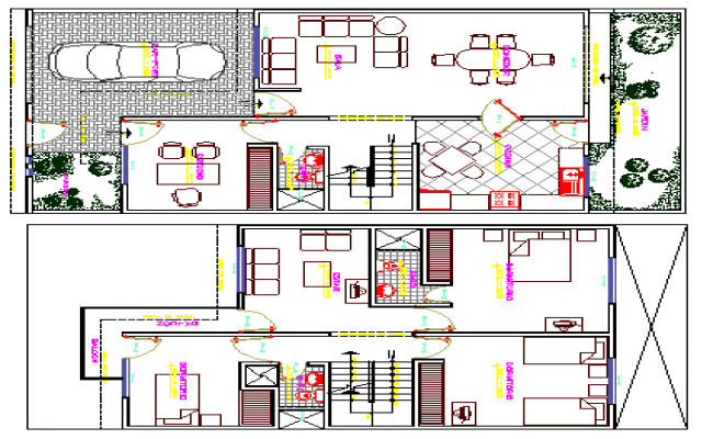 Single Family Two Flooring Bungalow Design, Structure Details dwg file
