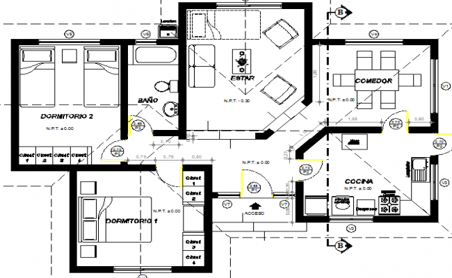 Single Family and Multi Flooring House Section Plan dwg file