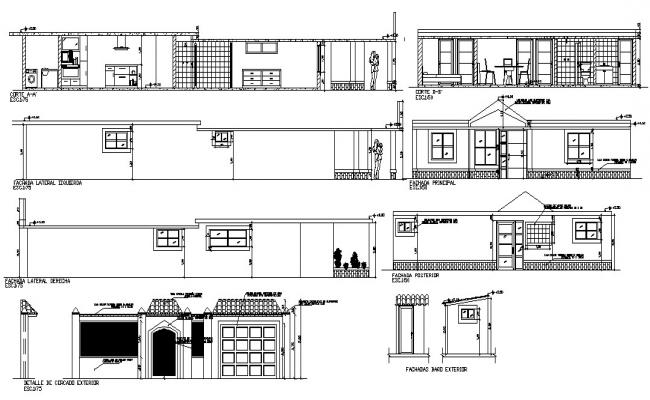 Single Storey House Design Elevation and Section CAD Drawing