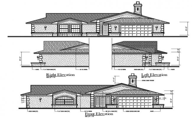 Single Story House Elevation CAD File