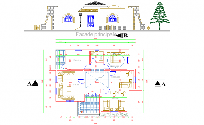 Single Story House project dwg file