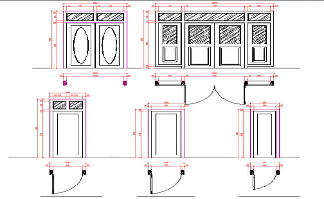 Single and double door installation plan details dwg file
