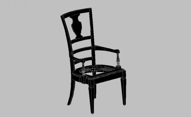 Single arm chair 3d block cad drawing details dwg file