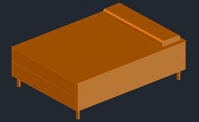 Single bed drawing in 3D