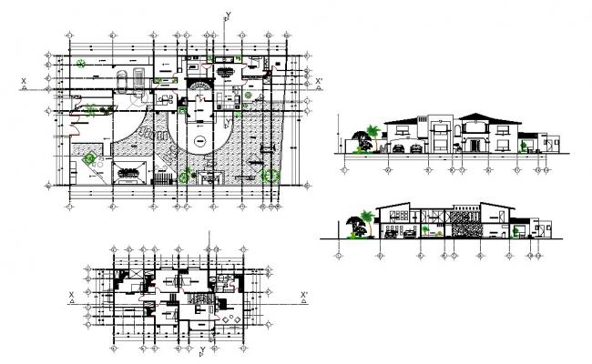 Single bedroom house elevation, section and distribution plan details dwg file