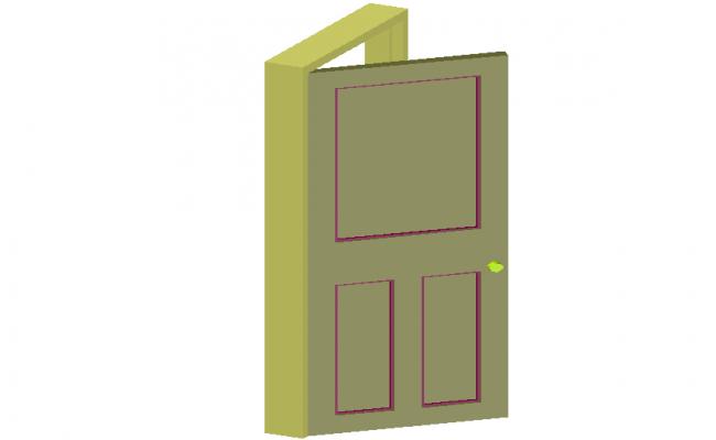 Single door design view on 3d view dwg file