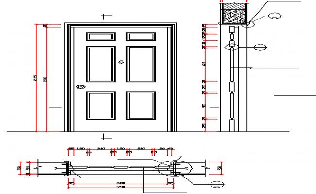 Single door installation details of house dwg file
