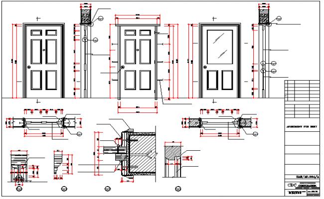 sc 1 st  Cadbull & Single door installation details with door elevation dwg file