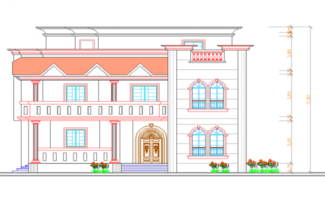 Single family bungalow front elevation details dwg file