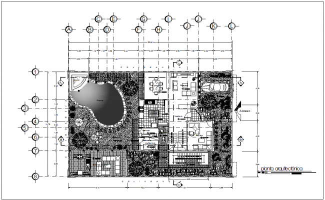 Single family home architecture view dwg file