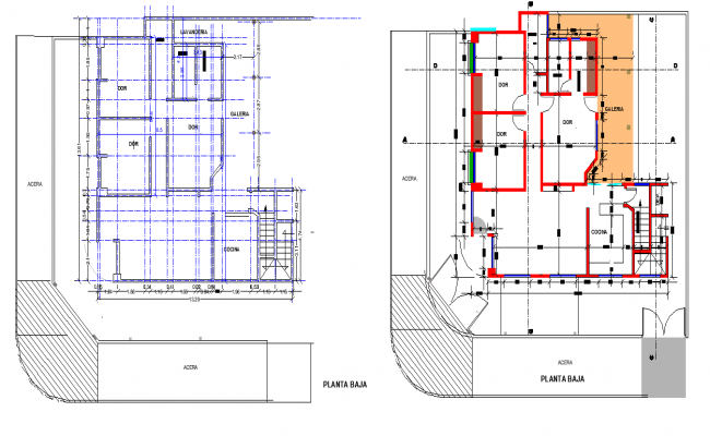 Single family home plan detail autocad file