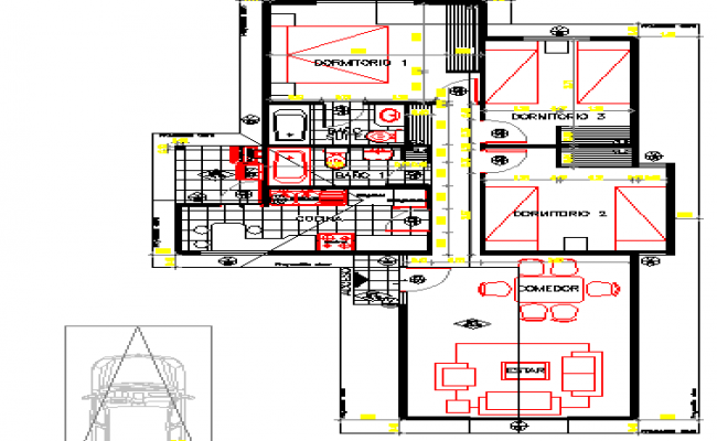 Single family house architecture layout plan details dwg file