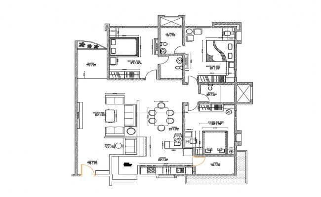 Single family house distribution plan details dwg file