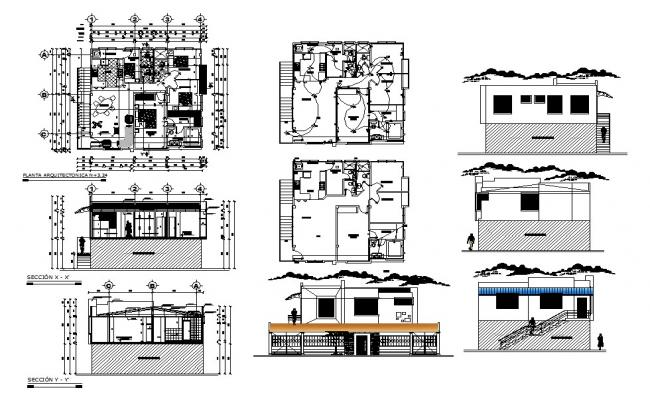 Single family house elevation, section, layout plan, electrical layout plan and auto-cad details dwg file