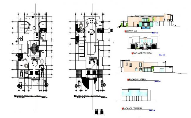 Single family house elevation, section and ground and first floor plan details dwg file