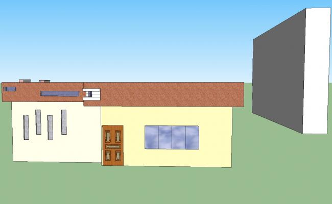 Single family house elevation 3d model dwg file