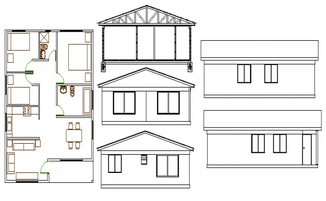 Single family house elevation and layout plan details dwg file