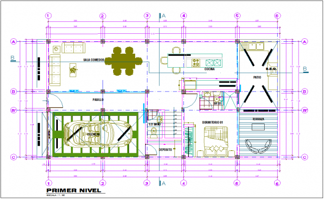 Single family house first floor plan with architecture view dwg file