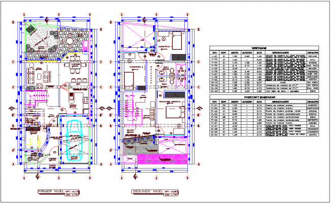 Single family house floor plan with door and window schedule dwg file