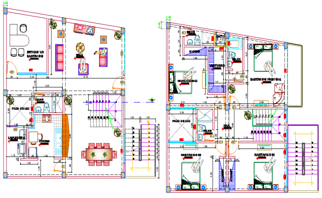 Single family house ground and first floor plan details dwg file