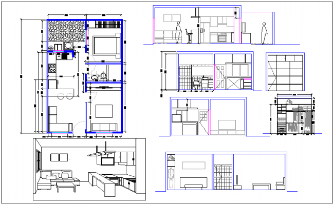 Single family house plan and elevation with interior view dwg file