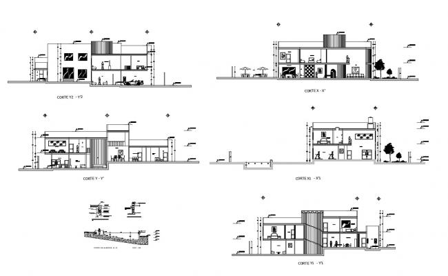 Single family house with section details in dwg file
