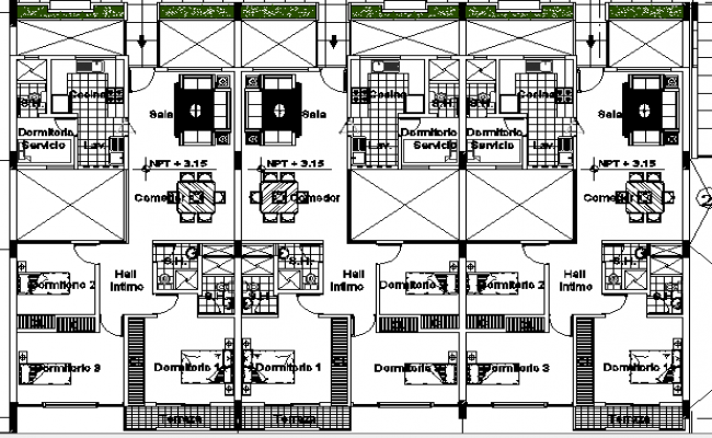 Single family housing apartment architecture layout dwg file