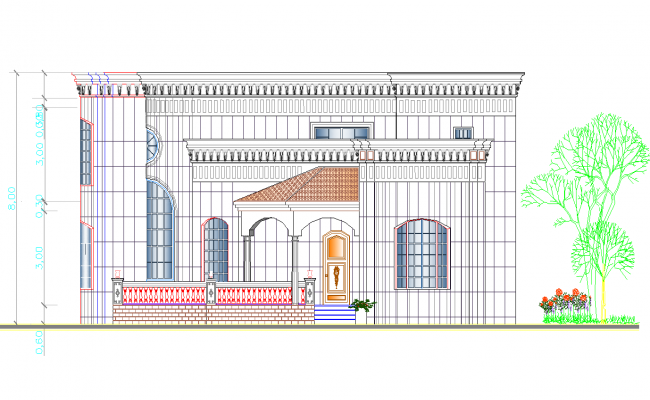 Single family modern bungalow front elevation details dwg file