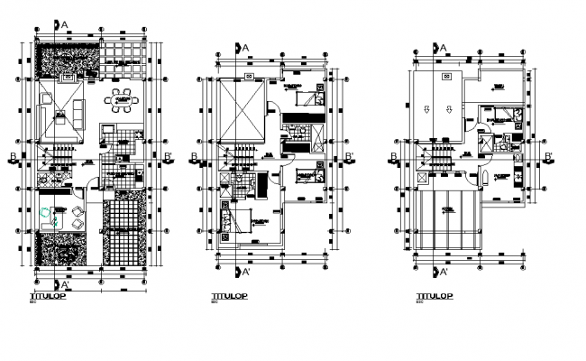 Single housing building detail plan 2d view layout file