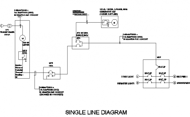 Single line diagram details of electric tower dwg file