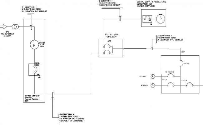 Single Line Diagram Details With Electric Installation Of Tower Dwg File