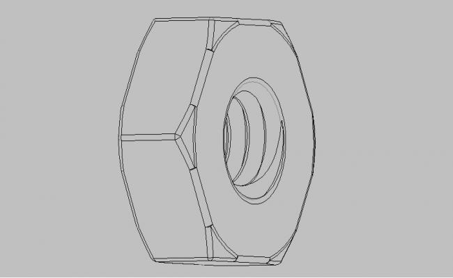 Single metric nut elevation block cad drawing details dwg file