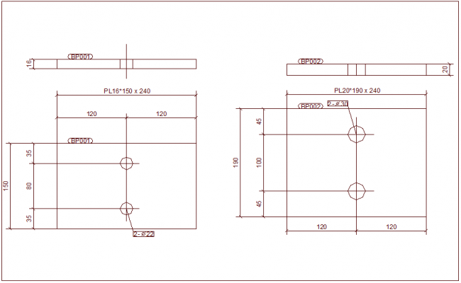 Single part drawing view for structural design dwg file