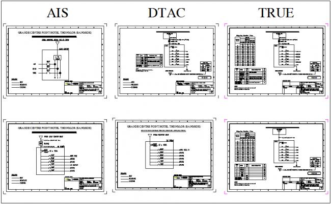 Single phase electrical diagram of hotel bangkok  dwg file