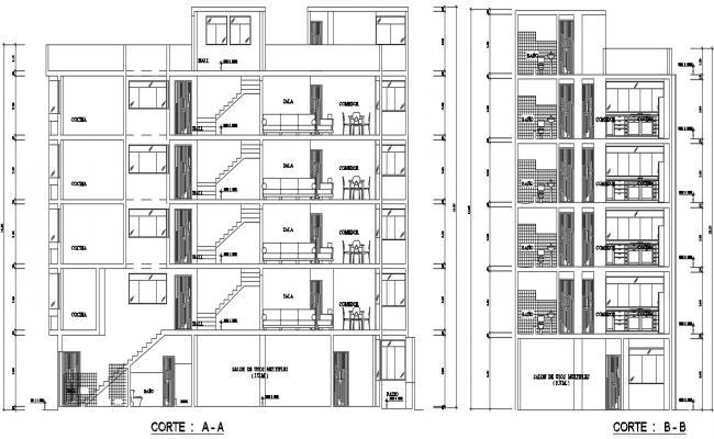 Single room apartment plan in dwg file