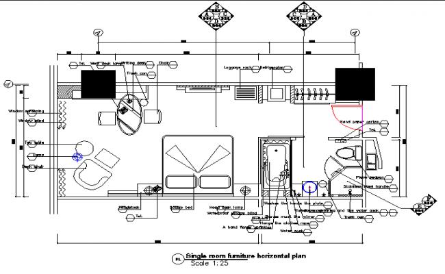 Single room furniture horizontal plan detail dwg file