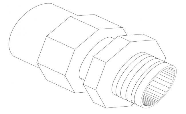 Single screw bolt elevation block cad drawing details dwg file